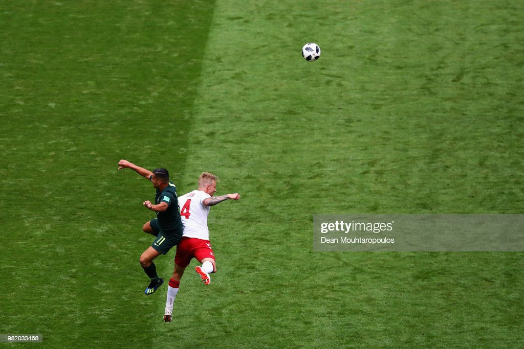 Andrew Nabbout of Australia and Simon Kjaer of Denmark battle for the header ball during the 2018 FIFA World Cup Russia group C match between Denmark and Australia at Samara Arena on June 21, 2018 in Samara, Russia.