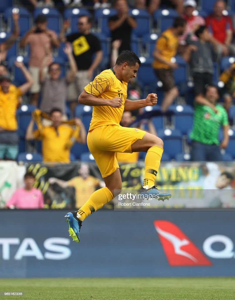 Andrew Nabbout of Australia celebrates after scoring a goal during the International Friendly match between the Czech Republic and Australia Socceroos at NV Arena on June 1, 2018 in Sankt Polten, Austria.
