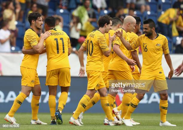 Andrew Nabbout of Australia celebrates after scoring a goal during the International Friendly match between the Czech Republic and Australia...