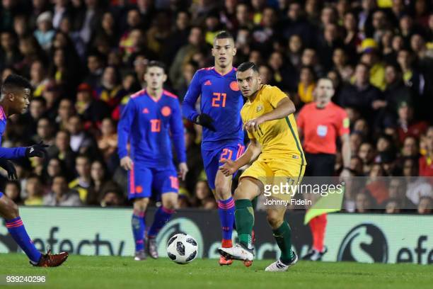 Andrew Nabbout of Australia during the International friendly match between Colombia and Australia at Craven Cottage on March 27 2018 in London...