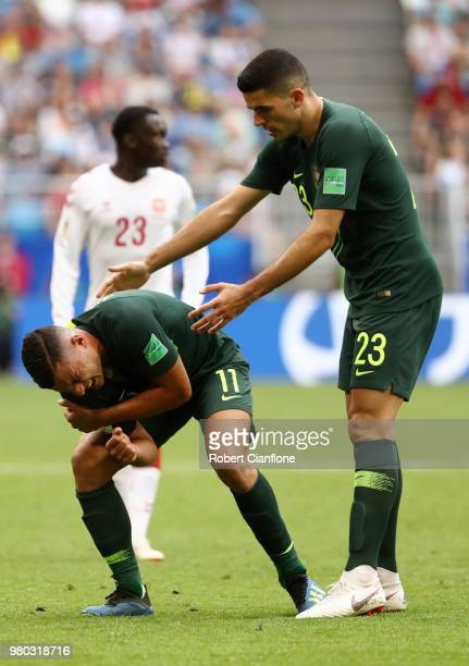 Andrew Nabbout of Australia goes down injured during the 2018 FIFA World Cup Russia group C match between Denmark and Australia at Samara Arena on...