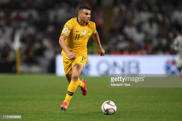 Andrew Nabbout of Australia in action during the AFC Asian Cup quarter final match between United Arab Emirates and Australia at Hazza Bin Zayed...