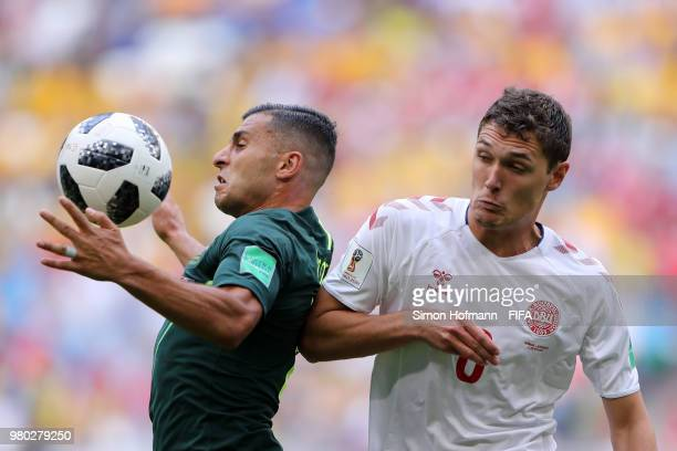 Andrew Nabbout of Australia is tackled by Thomas Delaney of Denmark during the 2018 FIFA World Cup Russia group C match between Denmark and Australia...