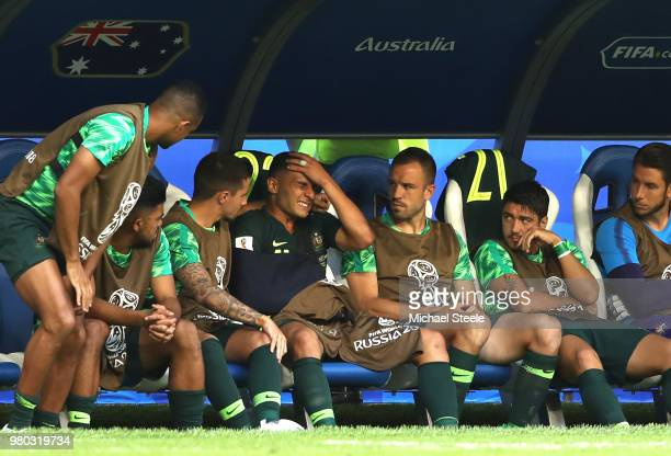 Andrew Nabbout of Australia looks on from the bench after recieving medical treatment during the 2018 FIFA World Cup Russia group C match between...