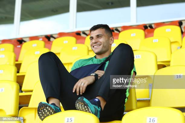 Andrew Nabbout of Australia looks on from the stands during an Australian Socceroos media opportunity at Stadium Trudovye Rezervy on June 24 2018 in...