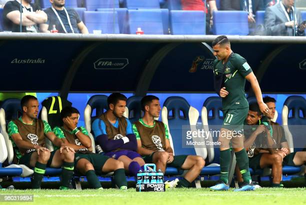Andrew Nabbout of Australia makes his way back to the bench after recieving medical treatment during the 2018 FIFA World Cup Russia group C match...