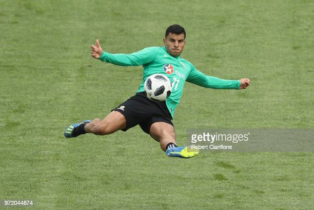 Andrew Nabbout of Australia shoots on goal during an Australia Socceroos training session ahead of the FIFA World Cup 2018 at Stadium Trudovye...