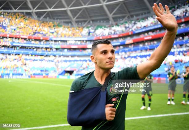 Andrew Nabbout of Australia shows appreciation to the fans after the 2018 FIFA World Cup Russia group C match between Denmark and Australia at Samara...