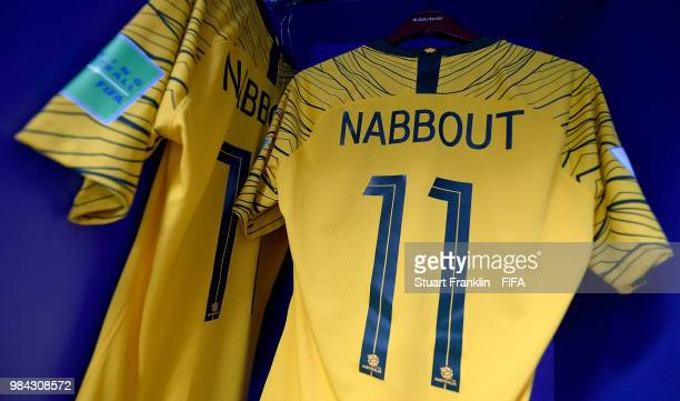 Andrew Nabbout of Australia's shirt is seen inside the Australia dressing room prior to the 2018 FIFA World Cup Russia group C match between...