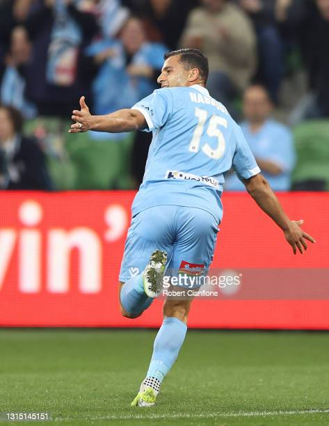 Andrew Nabbout of Melbourne City celebrates after scoring a goal during the A-League match between Melbourne City FC and the Newcastle Jets at AAMI...