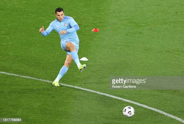 Andrew Nabbout of Melbourne City warms up prior to the A-League match between Melbourne City and Adelaide United at AAMI Park, on May 13 in...