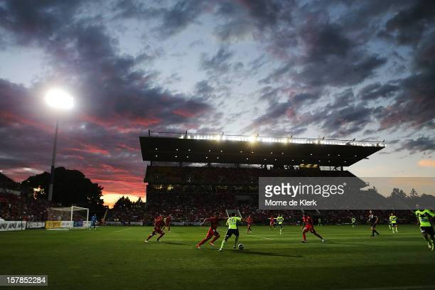 Andrew Nabbout of Melbourne runs with the ball during the round ten A-League match between the Adelaide United and the Melbourne Victory at Hindmarsh...