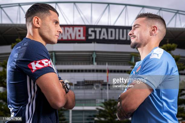 Andrew Nabbout of Melbourne Victory and Jamie Maclaren of Melbourne City pose for a photo during a Melbourne Victory and Melbourne City joint...
