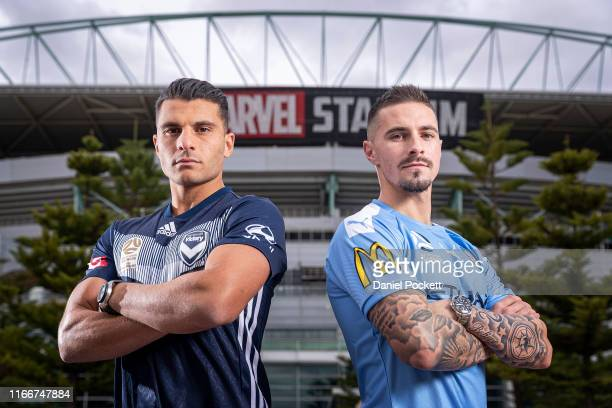 Andrew Nabbout of Melbourne Victory and Jamie Maclaren of Melbourne City pose for a photo during a Melbourne Victory and Melbourne City joint ALeague...