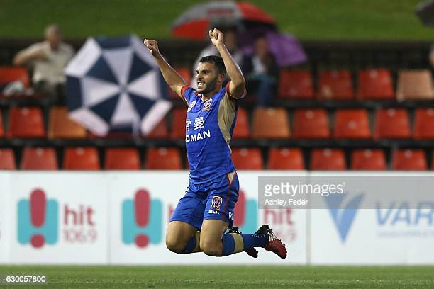 Andrew Nabbout of the Jets celebrates a goal during the round 11 ALeague match between the Newcastle Jets and Adelaide United at McDonald Jones...