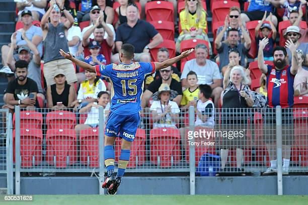 Andrew Nabbout of the Jets celebrates a goal during the round 12 ALeague match between the Newcastle Jets and the Wellington Phoenix at McDonald...