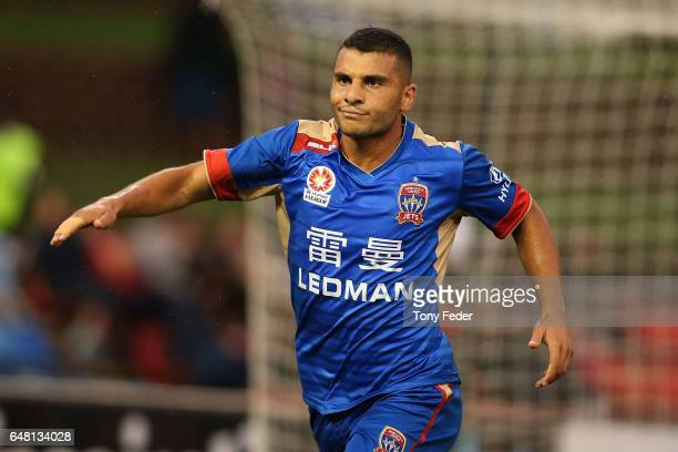 Andrew Nabbout of the Jets celebrates a goal during the round 22 ALeague match between the Newcastle Jets and the Brisbane Roar at McDonald Jones...
