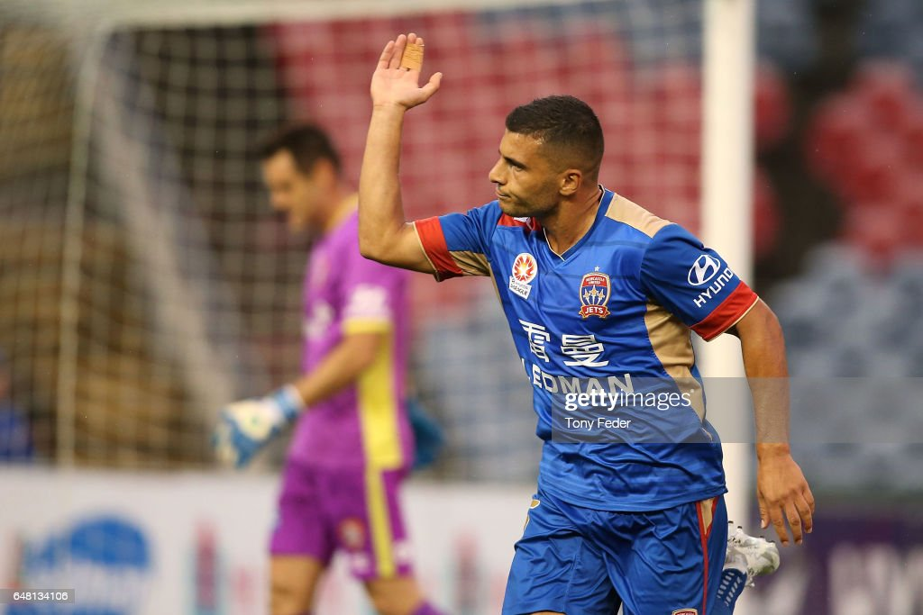 Andrew Nabbout of the Jets celebrates a goal during the round 22 A-League match between the Newcastle Jets and the Brisbane Roar at McDonald Jones Stadium on March 5, 2017 in Newcastle, Australia.
