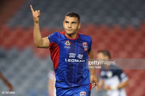 Andrew Nabbout of the Jets celebrates a goal during the round eight ALeague match between the Newcastle Jets and the Melbourne Victory at McDonald...
