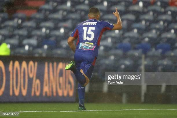 Andrew Nabbout of the Jets celebrates a goal during the round nine ALeague match between the Newcastle Jets and Melbourne City at McDonald Jones...