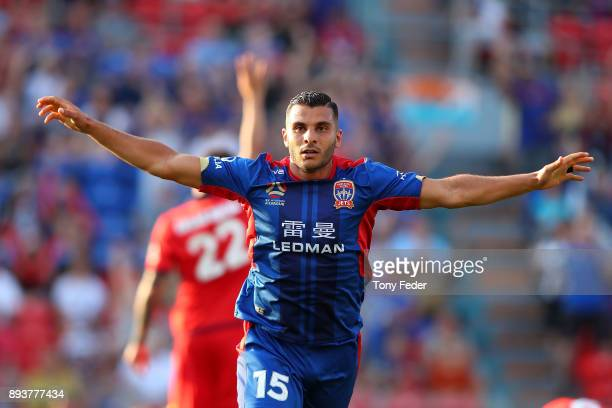 Andrew Nabbout of the Jets celebrates after scoring a goal during the round 11 ALeague match between the Newcastle Jets and the Adelaide United at...