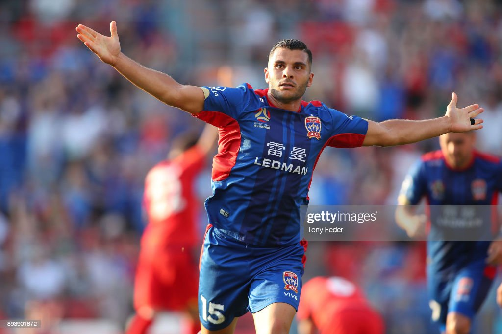 Andrew Nabbout of the Jets celebrates after scoring a goal during the round 11 A-League match between the Newcastle Jets and the Adelaide United at McDonald Jones Stadium on December 16, 2017 in Newcastle, Australia.