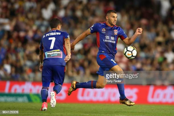 Andrew Nabbout of the Jets controls the ball during the round 16 ALeague match between the Newcastle Jets and the Brisbane Roar at McDonald Jones...
