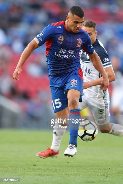 Andrew Nabbout of the Jets controls the ball during the round 19 ALeague match between the Newcastle Jets and the Melbourne Victory at McDonald Jones...