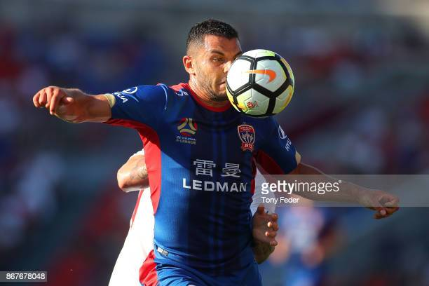 Andrew Nabbout of the Jets controls the ball during the round four ALeague match between the Newcastle Jets and the Western Sydney Wanderers at...
