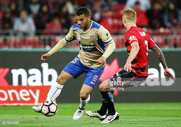 Andrew Nabbout of the Jets controls the ball during the round three ALeague match between the Western Sydney Wanderers and the Newcastle Jets at...