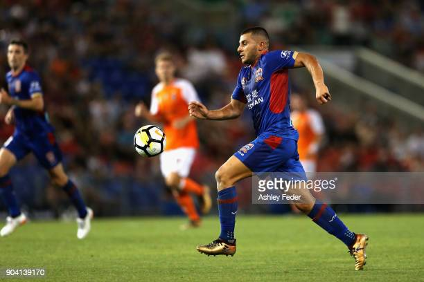 Andrew Nabbout of the Jets in action during the round 16 ALeague match between the Newcastle Jets and the Brisbane Roar at McDonald Jones Stadium on...