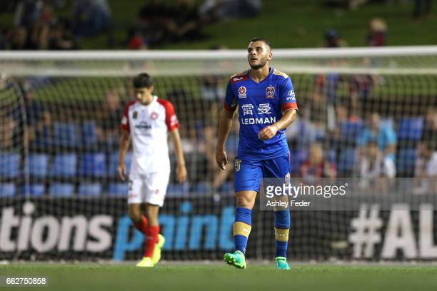 Andrew Nabbout of the Jets looks dejected after a near miss at goal during the round 25 ALeague match between the Newcastle Jets and the Western...