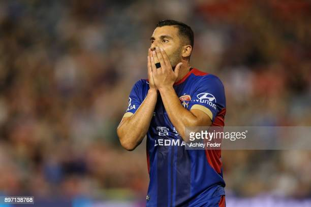 Andrew Nabbout of the Jets reacts to a near miss at goal during the round 12 ALeague match between the Newcastle Jets and the Western Sydney...