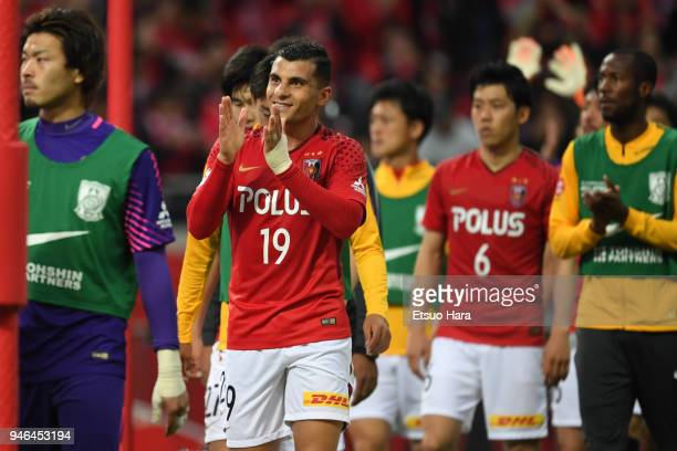 Andrew Nabbout of Urawa Red Diamonds applauds the fans after the JLeague J1 match between Urawa Red Diamonds and Shimizu SPulse at Saitama Stadium on...