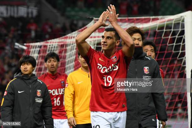 Andrew Nabbout of Urawa Red Diamonds celebrates the win after the JLeague J1 match between Urawa Red Diamonds and Vegalta Sendai at Saitama Stadium...