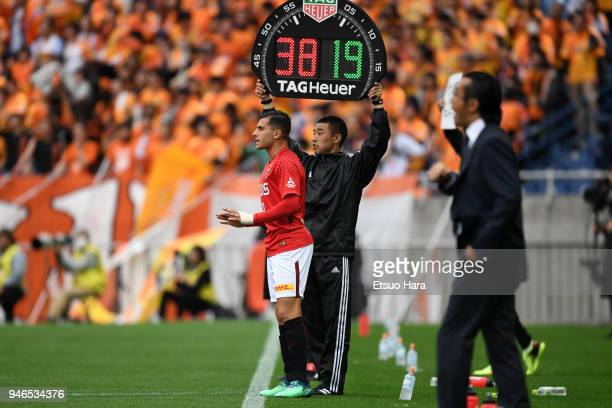 Andrew Nabbout of Urawa Red Diamonds enters the pitch during the JLeague J1 match between Urawa Red Diamonds and Shimizu SPulse at Saitama Stadium on...