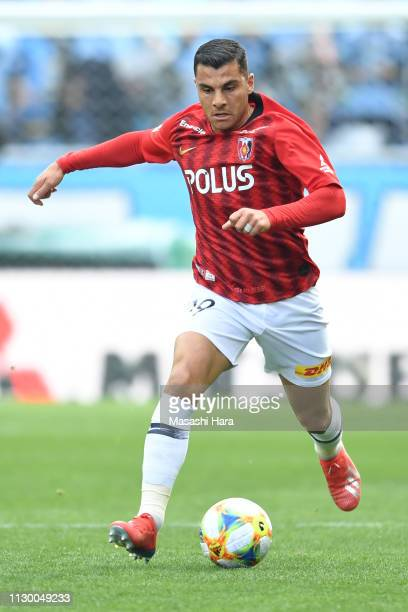 Andrew Nabbout of Urawa Red Diamonds in action during the Fuji Xerox Super Cup between Kawasaki Frontale and Urawa Red Diamonds at Saitama Stadium on...