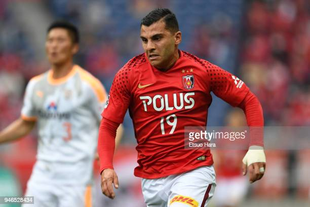 Andrew Nabbout of Urawa Red Diamonds in action during the JLeague J1 match between Urawa Red Diamonds and Shimizu SPulse at Saitama Stadium on April...