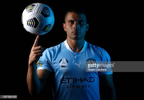 Andrew Nabbout poses during the Melbourne City A-League 2020/21 Headshots Session at Melbourne City Football Academy on November 24, 2020 in...