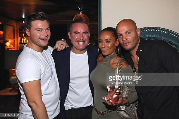 Andrew Naylor Nick Ede Mel B and Stephen Belafonte attend a private dinner at the home of Jonas Tahlin CEO Absolut Elyx on September 29 2016 in West...