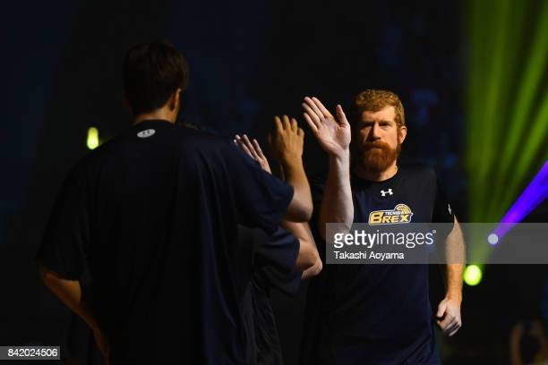 Andrew Naymick of Tochigi Brex is introduced onto the court ahead of during the BLeague Kanto Early Cup 3rd place match between Kawasaki Brave...