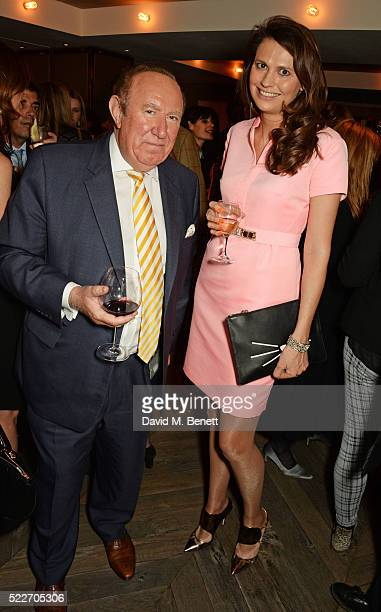 Andrew Neil and Olivia Cole attend as The Spectator's lifestyle magazine celebrates its fourth birthday at the Belgraves Hotel on April 20 2016 in...