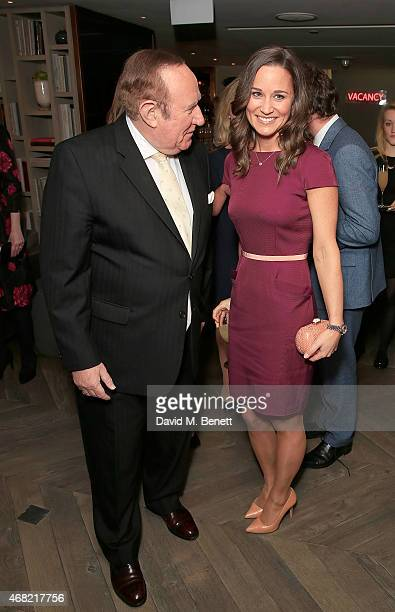 Andrew Neil and Pippa Middleton attend as Spectator Life magazine celebrates its third birthday at the Belgraves Hotel on March 31 2015 in London...