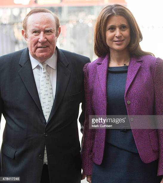 Andrew Neil and Susan Nilsson attend a memorial service for Sir David Frost at Westminster Abbey on March 13 2014 in London England