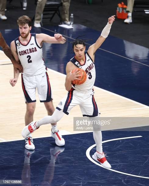Andrew Nembhard of the Gonzaga Bulldogs against the West Virginia Mountaineers during the Jimmy V Classic at Bankers Life Fieldhouse on December 02,...