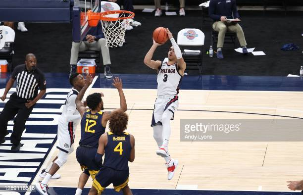 Andrew Nembhard of the Gonzaga Bulldogs shoots the ball against the West Virginia Mountaineers during the Jimmy V Classic at Bankers Life Fieldhouse...