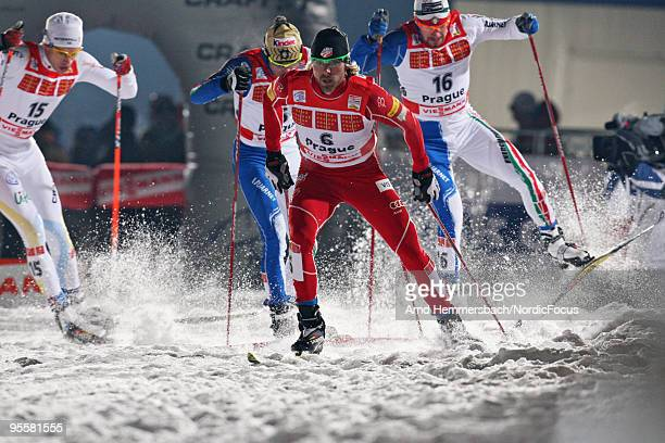 Andrew Newell of the United States competes during the individual sprint men for the FIS Cross Country World Cup Tour de Ski on January 04 2010 in...