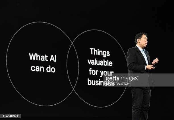 Andrew Ng who is the Founder and CEO of LandingAI and deep learningai talks about AI during a keynote session at the Amazon ReMARS conference on...