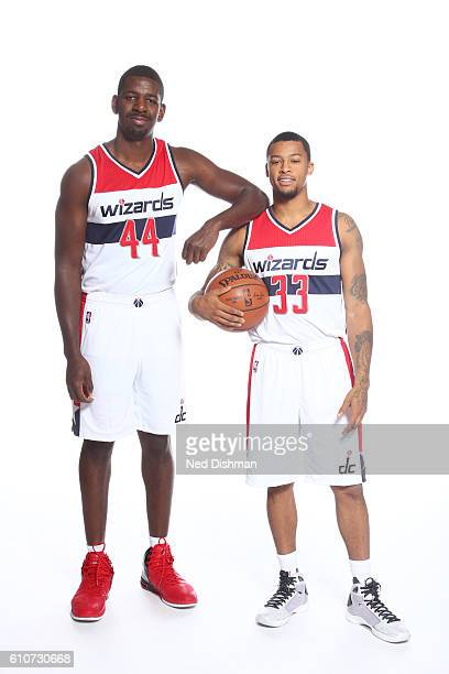 Andrew Nicholson and Trey Burke of the Washington Wizards pose for a portrait during the 20162017 Media Day on September 26 2016 at the Verizon...