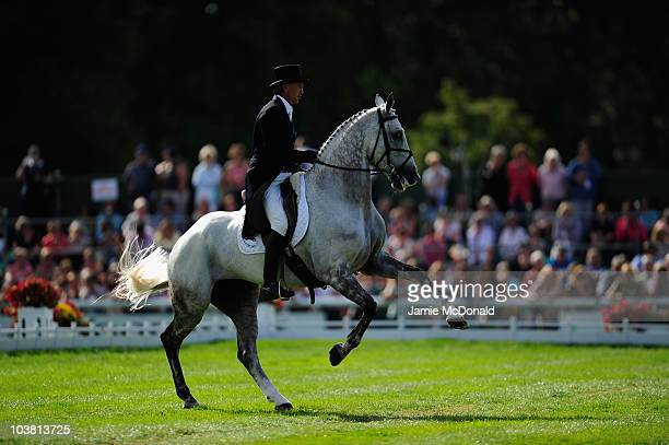 Andrew Nicholson of New Zealand rides Avebury during the Dressage event on Day Two of the Burghley Horse Trials on September 3 2010 in Stamford...